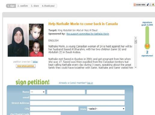 Signer la pétition pour Nathalie et ses enfants